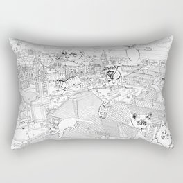 Giant cats and dogs take over the city Rectangular Pillow