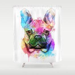 French bulldog Watercolor Shower Curtain