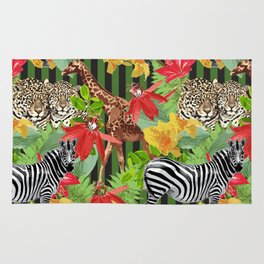 leopard, zebras, giraf and flowers Rug