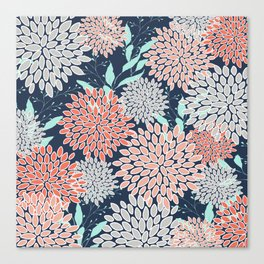 Leaves and Floral Prints, Navy Blue, Aqua, Gray and Coral Canvas Print