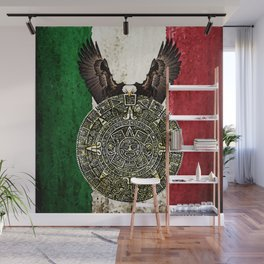 MEXICAN EAGLE AZTEC CALENDAR FLAG Wall Mural
