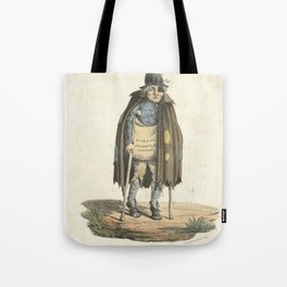 A beggar dressed in ragged clothes walks on crutches begging for scraps. Coloured lithograph by E. H Tote Bag