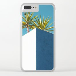 Cactus blue white Clear iPhone Case