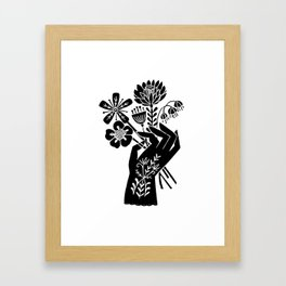 Hand - floral art print, hand with flowers art print, linocut art print, florals Framed Art Print