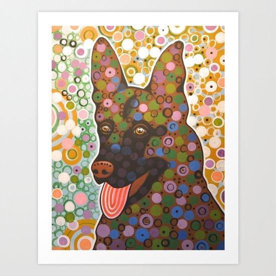 Zeus ... Abstract dog art, German Shepherd Art Print