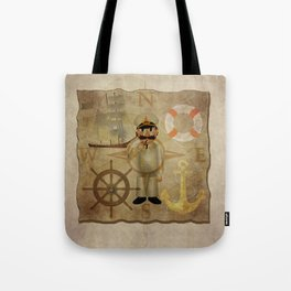 Captain, ship, rudder, anchor, lifebelt, map, compass, old map, messy, messy map Tote Bag