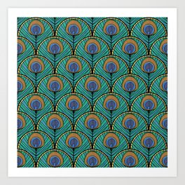 Glitzy Peacock Feathers Art Print