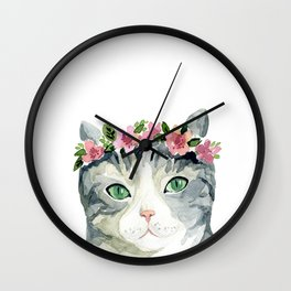 grey cat with flowers Wall Clock