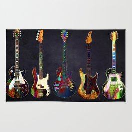 Sounds of music. Five colorful guitars. Rug