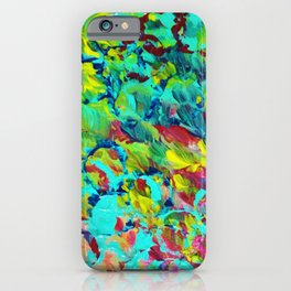 A LITTLE OF THIS - Bright Colorful Abstract Ocean Painting Circle Pattern Magenta Lime Fun Gift iPhone Case