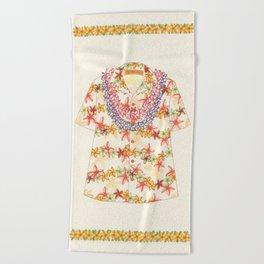 Plumeria Lei Shirt Beach Towel