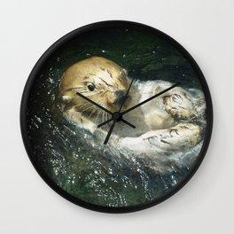 Drifting Away - Sea Otter Wall Clock