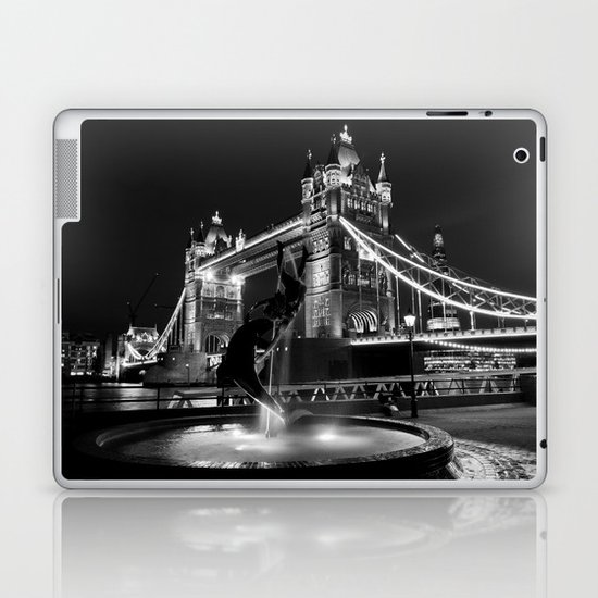 Tower Bridge And the Girl and dolphin Statue Laptop & iPad Skin
