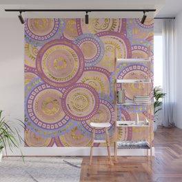Circular Ethnic  pattern pastel gold purples, blue Wall Mural