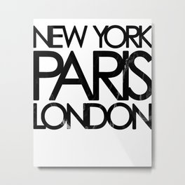 Fashion print, Black white, Marble, City, Fashion art, Minimal Metal Print