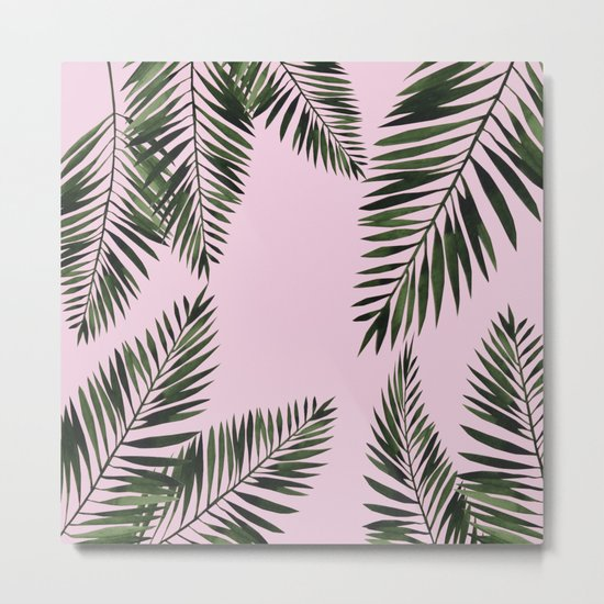 Watercolor tropical palm leaves pink Metal Print
