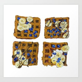 Hand Drawn Waffles with Blueberries Print Art Print