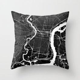 Black City Map of Philadelphia, PA  Throw Pillow
