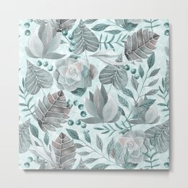 Watercolor Leaf And Succulent Pattern Metal Print