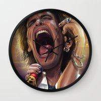 tyler spangler Wall Clocks featuring steven tyler by Jesus Conde