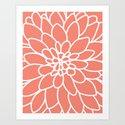 Coral Modern Dahlia Flower by aldariartstudio