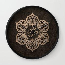 Aged Stone Lotus Flower Yoga Om Wall Clock