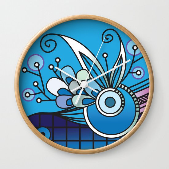 Ornate square zentangle, Ultramarine Blue Wall Clock