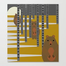 Bears hiding in the woods Canvas Print