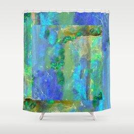 Blue-Aqua Opal Birthstone Inlay Abstract Shower Curtain