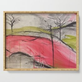 Pink Landscape. Color of Japan. Original Painting by Jodi Tomer. Abstract Artwork. Serving Tray
