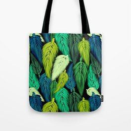 Watercolor Macrame Feather Toss in Black + Green Tote Bag