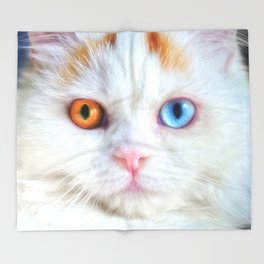 Odd-Eyed White Persian Kitten Throw Blanket