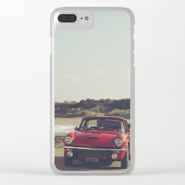 Triumph Spitfire by the sea, with ship, fine art photo, british car, sports car, color, high definit Clear iPhone Case