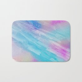 Hand painted abstract pink teal watercolor pattern Bath Mat