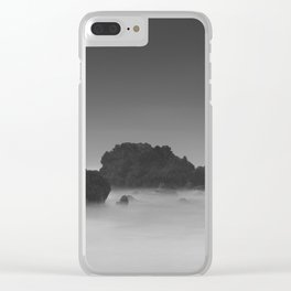 Modern Minimalist Black And White Bleak Landscape Foggy Clouds Clear iPhone Case