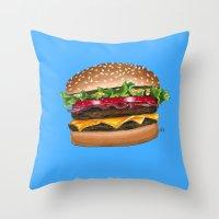 junk food Throw Pillows featuring junk food - burger by Bleachydrew