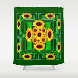 SPRING GREEN YELLOW FLOWERS  ART DECORATIVE  DESIGN Shower Curtain
