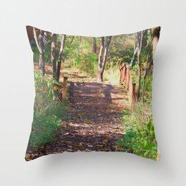 Over The Wooden Bridge Throw Pillow