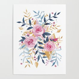 Watercolor flower 3 roses Poster