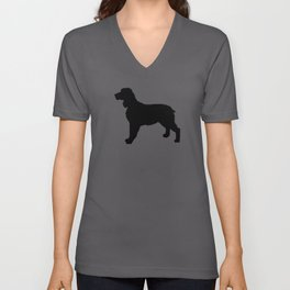English Springer Spaniel dog breed pet art dog silhouette unique dog breeds black and white Unisex V-Neck