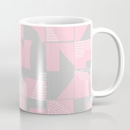 Blush and Gray Typographical Fragments Cheater Quilt Coffee Mug