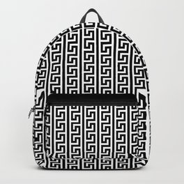 Greek Key Full - White and Black Backpack