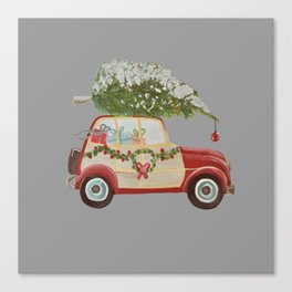 Vintage tree on red car gray background Canvas Print