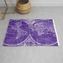 World Map (1691) Purple & White Rug