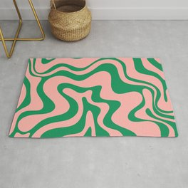 Liquid Swirl Retro Abstract Pattern in Pink and Bright Green Rug