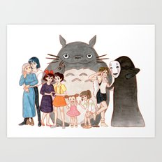 Hayao Miyazaki's Family Art Print