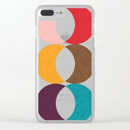 Mid Century Modern Circles Clear iPhone Case
