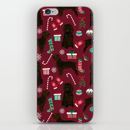 Boykin Spaniel christmas pattern dog breed presents stockings candy canes iPhone Skin