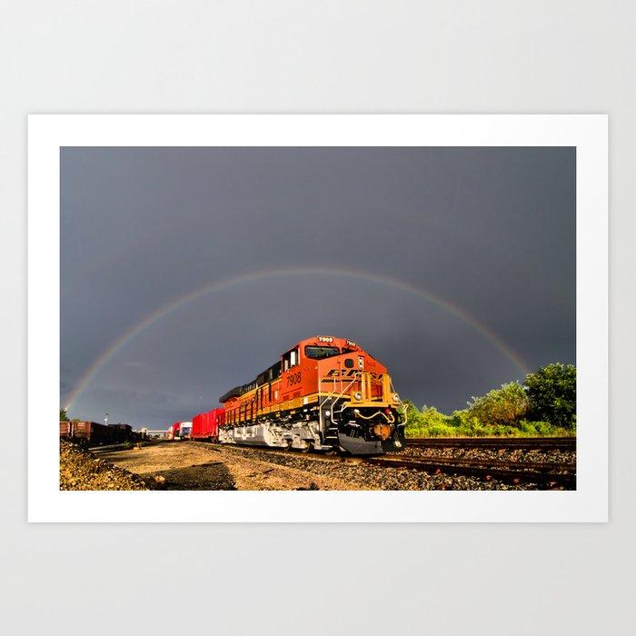BNSF Train with Rainbow at Henrietta Missouri Art Print