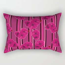 Floral pattern on striped background Rectangular Pillow
